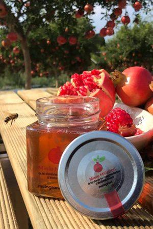 Squisito miele millefiori al Melograno prodotto nel Salento.Ideale per essere gustato su una fetta di pane o come dolcificante.